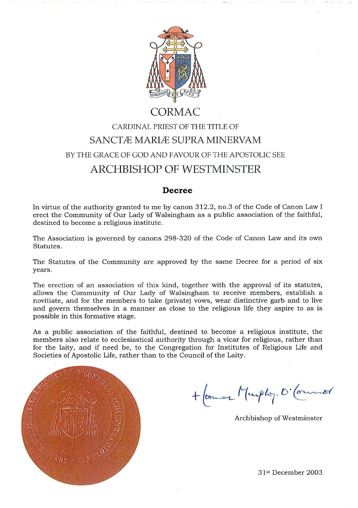 Decree establishing the Community